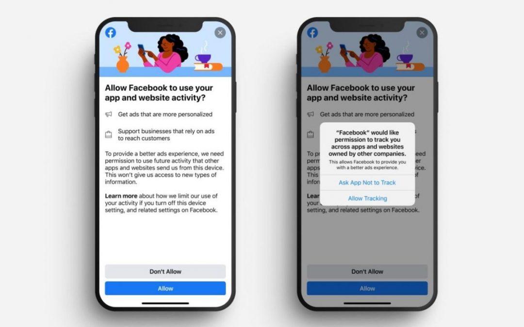Facebook muestra un mensaje para alentar a los usuarios de Apple a permitir el ad tracking